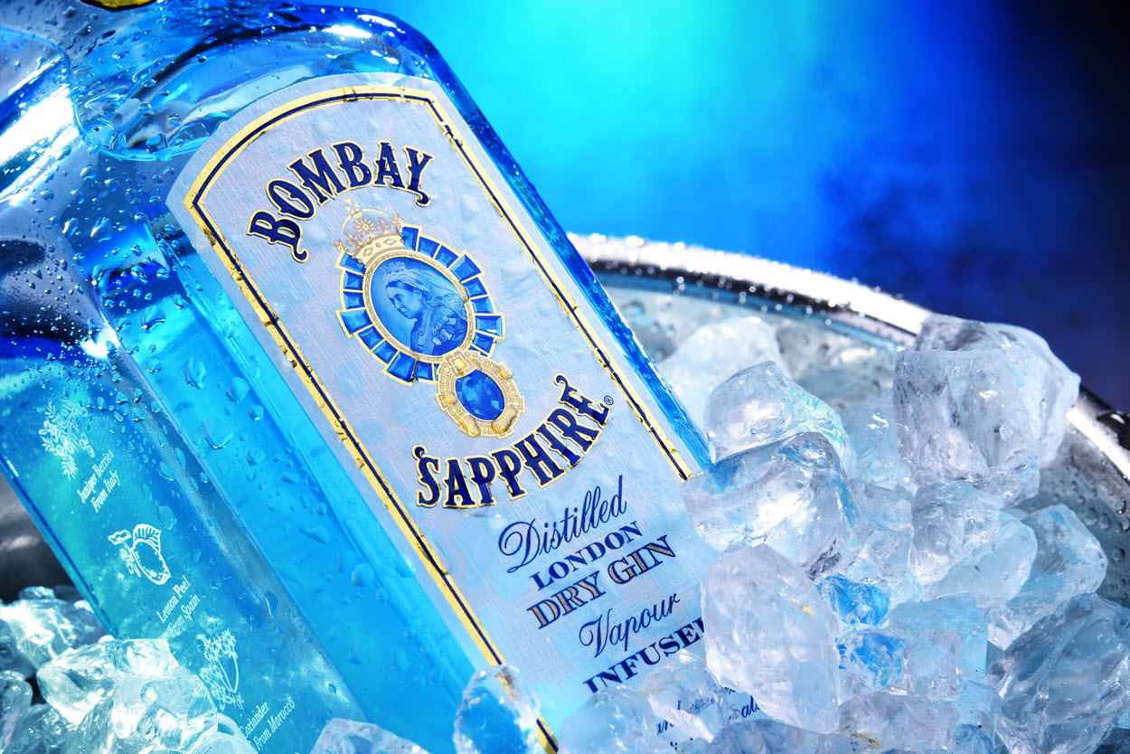 ice-cold Bombay Sapphire