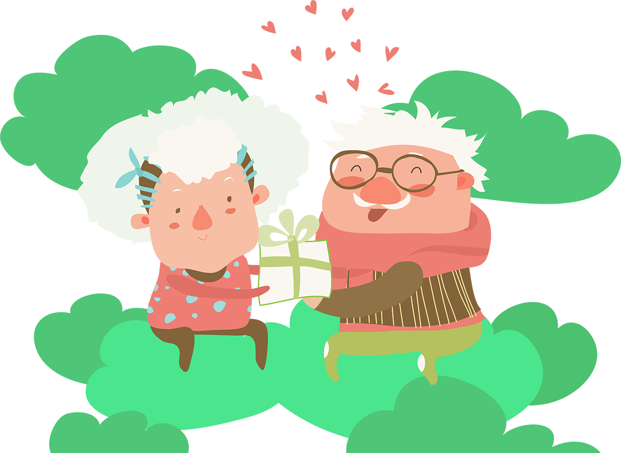 old couple with gift