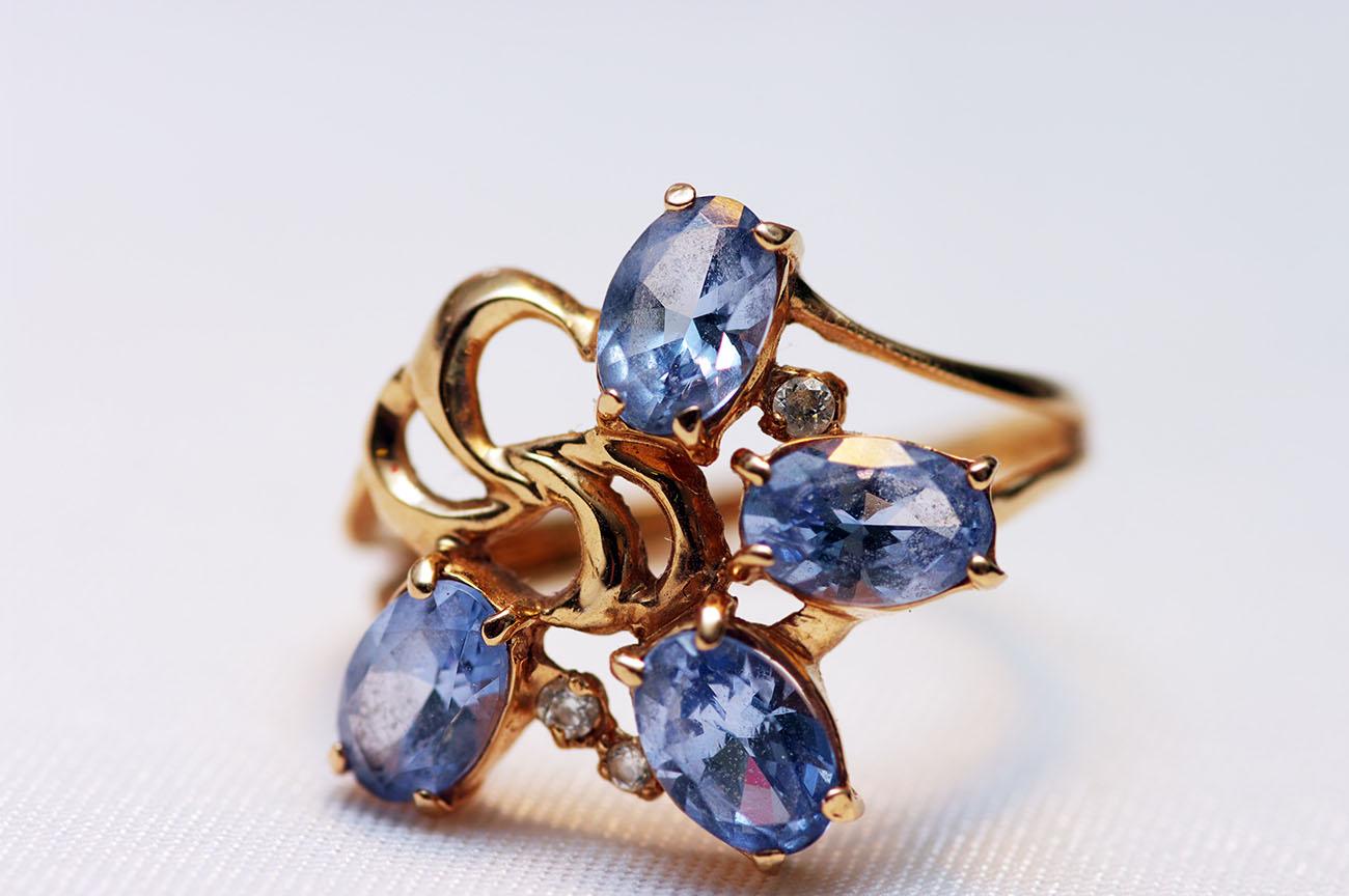 Blue topaz golden ring