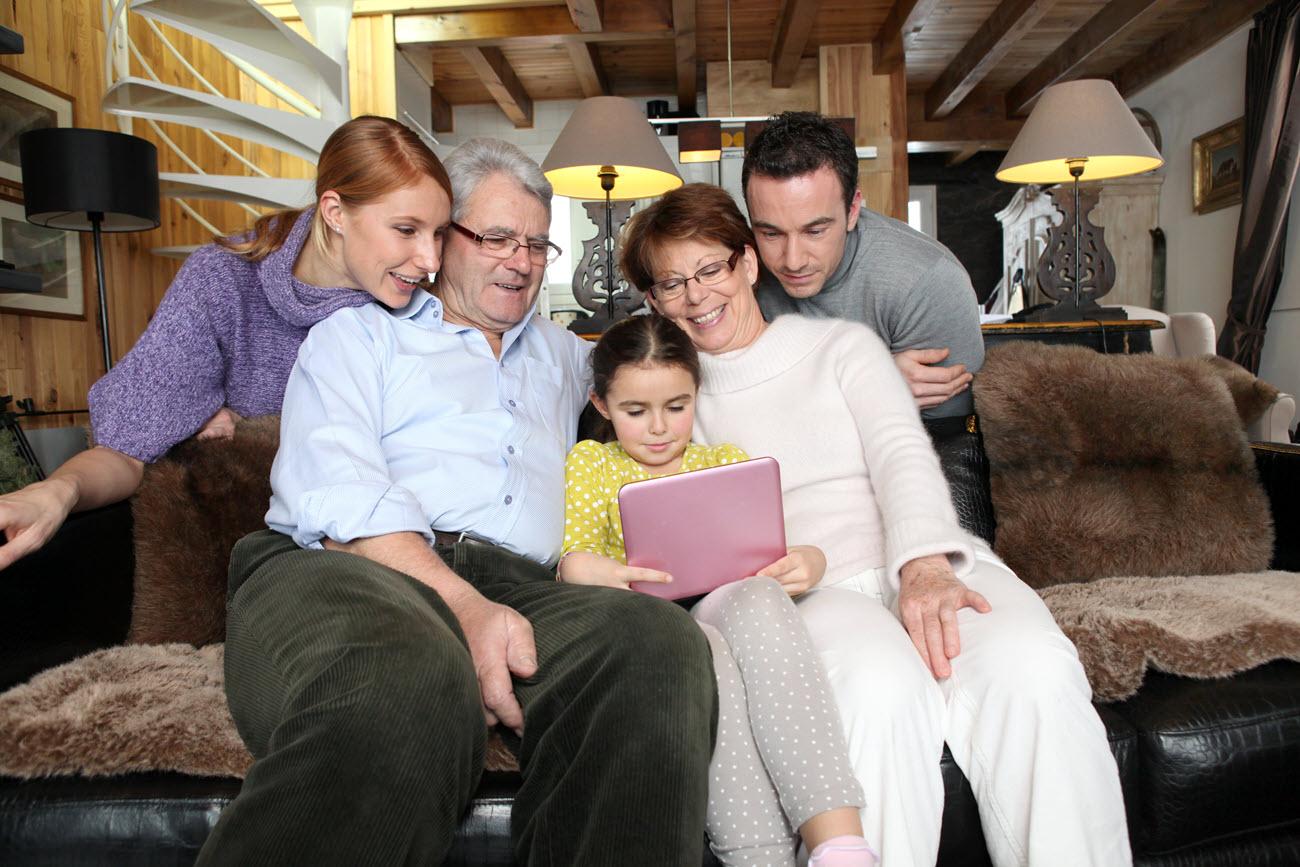A family gathering on a laptop