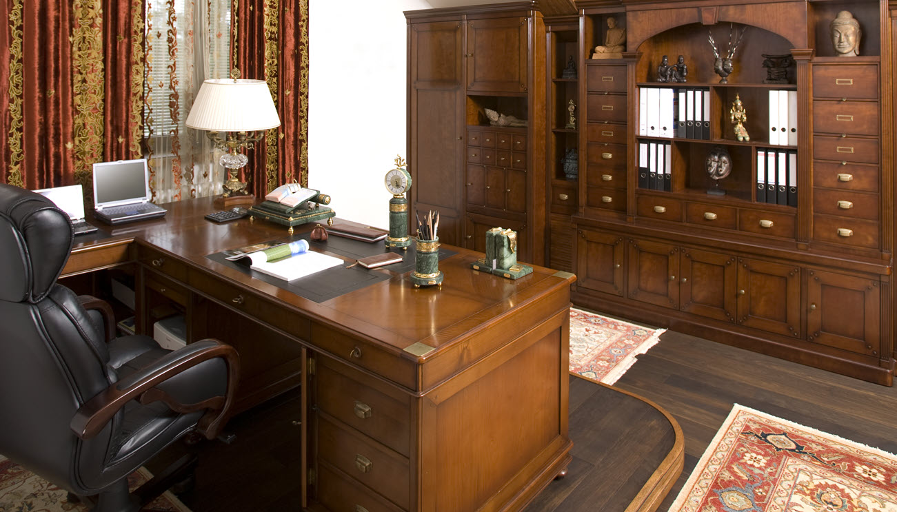 An elegant home office for a sophisticated gentleman